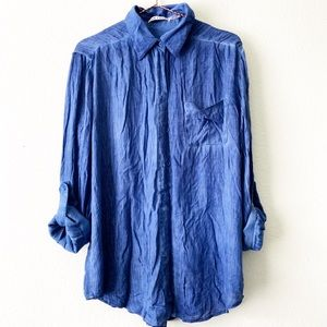 ALICE + OLIVIA blue blouse button up shirt top M
